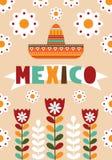 Mexicansk folk kortinbjudan Arkivfoto