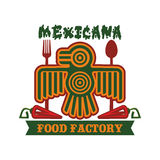 Mexicansk isolerad aztec fågelsymbol för restaurang vektor stock illustrationer