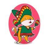 Mexicansk katt med maracas royaltyfri illustrationer