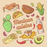 Mexicansk klotter för mat för kokkonst traditionell dragit hand med taco och Nachos stock illustrationer