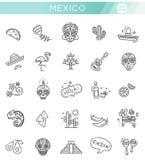 Mexicansk kultursymbolsuppsättning död dag Arkivbilder