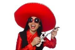 Mexicansk kvinna i roligt begrepp på vit arkivfoto