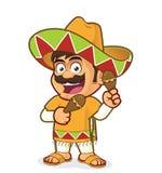 Mexicansk man med maracas stock illustrationer