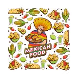 Mexicansk mat Gulligt mexicanskt innehav ett magasin av mexicansk mat En uppsättning vektor illustrationer