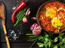 Mexicansk mat - huevosrancheros Ägg som tjuvjagas i tomatsås Arkivbild