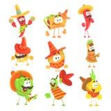 Mexicansk mat och grönsakserie AV kalla tecknad filmtecken i medborgarekläder med gitarrer och Maracas som ler och vektor illustrationer