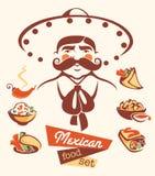 Mexicansk mat- och mexikanman royaltyfri illustrationer