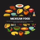 Mexicansk mat på svart stock illustrationer