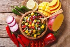 Mexicansk mat: salsa med mango-, koriander-, lök- och pepparclo royaltyfri foto