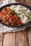 Mexicansk matropavieja: kalops i tomatsås med grönsaker Arkivfoton