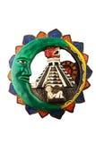 Mexicansk Mayan Chichen Itza keramisk platta som isoleras på vit Royaltyfri Bild