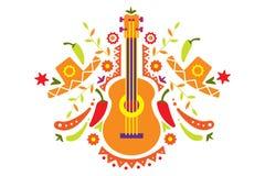Mexicansk modell, traditionella symboler av den Mexico vektorillustrationen stock illustrationer
