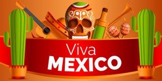 Mexicansk musikbegreppsbakgrund, tecknad filmstil royaltyfri illustrationer