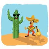 Mexicansk musiker och kaktus Fotografering för Bildbyråer