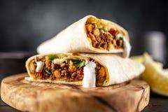 Mexicansk nötköttburrito arkivfoto