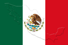 Mexicansk nationsflagga med Eagle Coat Of Arms och mexicansk översikt 3D Arkivbild