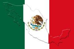 Mexicansk nationsflagga med Eagle Coat Of Arms och mexicansk översikt 3D Arkivbilder