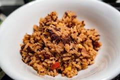 Mexicansk rismaträttnärbild i en vit bunke arkivfoton