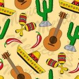 Mexicansk sömlös bakgrund Arkivfoto