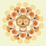 Mexicansk skalle med merigoldmodellen Royaltyfria Bilder