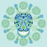 Mexicansk skalle med ringblommamodellen Arkivbilder
