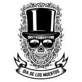 Mexicansk sockerskalle i tappninghatt och solglasögon med blom- modellbakgrund död dag Designbeståndsdel för affischen, gree Royaltyfri Bild