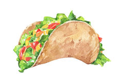 Mexicansk taco med nya grönsaker Traditionell mexicansk mat arkivbild