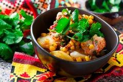 Mexicansk torsk- och potatisragu royaltyfria bilder