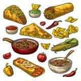 Mexicansk traditionell matuppsättning med Guacamole, Enchilada, Burrito, taco, Nachos Fotografering för Bildbyråer
