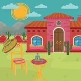 Mexicansk villa, traditionellt mexicanskt hus och gårdvektorillustration Royaltyfri Bild