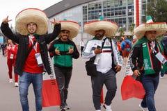Mexicanska fotbollsfan på St Petersburg stadion under den FIFA världscupen Ryssland 2018 Royaltyfria Bilder