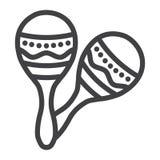 Mexicanska maracas fodrar symbolen, musik och instrumentet stock illustrationer