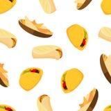 Mexicanska mattaco burrito och sömlös bakgrund för nachosvektor stock illustrationer