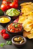 Mexicanska nachostortillachiper med guacamole, salsa och ost D arkivfoton