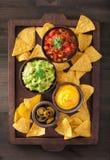 Mexicanska nachostortillachiper med guacamole, salsa och ost D royaltyfri bild