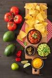 Mexicanska nachostortillachiper med guacamole, salsa och ost D royaltyfri foto