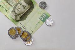 Mexicanska pengar på vit Rum för text arkivfoton
