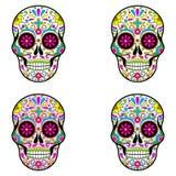 Mexicanska sockerskallar, dag av den döda illustrationen på vit bakgrund royaltyfri illustrationer