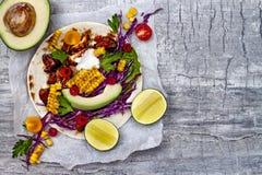 Mexicanska taco med avokadot, långsamt lagat mat kött, grillad havre, vitkålssallad för röd kål och chilisalsa på den lantliga st Fotografering för Bildbyråer