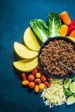 Mexicanska taco, recept för matgränsbakgrund som är över huvudet Royaltyfria Foton