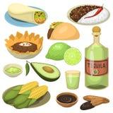 Mexicanska traditionella isolerade matmålplattor äter lunch illustrationen för vektorn för såsMexiko kokkonst royaltyfri illustrationer