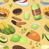 Mexicanska traditionella matmålplattor äter lunch bakgrund för modellen för illustrationen för vektorn för såsMexiko kokkonst söm royaltyfri illustrationer