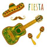 Mexicanskt Fiestaparti Maracas, sombrero, mustasch och gitarr royaltyfri illustrationer