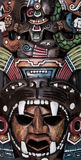 Mexicanskt Mayan Aztec trä och keramisk maskering Royaltyfri Foto