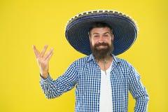 Mexicanskt partibegrepp Fira traditionell mexikansk ferie Lets har gyckel Lycklig festlig dräkt för mexicansk grabb som är klar t arkivfoton