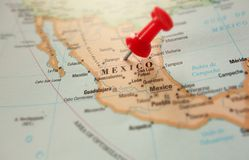 Mexico. Map of Mexico with red push pin Stock Photos