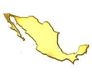 Mexico 3d Golden Map Stock Photo
