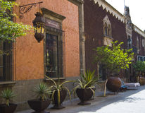 Mexico. Looking down a small pedestrian street towards in the Tlaquepaque district Royalty Free Stock Image