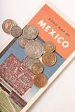 Mexico. Road map of Mexico with Mexican coins royalty free stock images