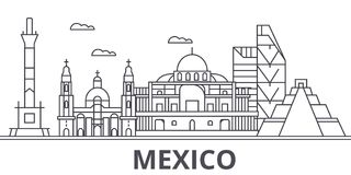 Mexico architecture line skyline illustration. Linear vector cityscape with famous landmarks, city sights, design icons. Editable strokes royalty free illustration